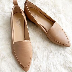 Franco Sarto tan pointed toe leather loafers